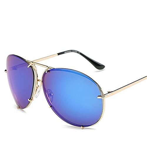 SLAKF Gafas duraderas Moda Mujeres de Gran tamaño Gafas de Sol Degradado Lente Ovalada Sombras de Soles Gafas de Sol Piloto Espejo Hembra UV400 Gafas para Mujeres Mujeres (Lenses Color : 04)