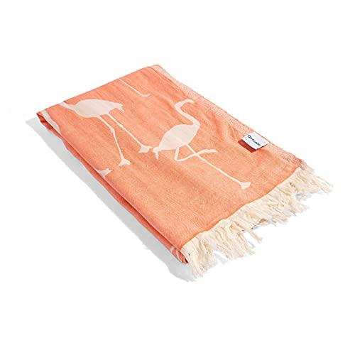 InfuseZen Turkish Towel - Thin & Absorbent Peshtemal Beach Bath Towels - 100% Cotton Oversized Hammam Fouta Towel Lightweight Pool, Gym, Travel Towel with Flamingo Design (Coral)
