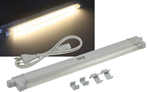 ChiliTec LED Unterbau Küchenleuchte 27cm 2Watt I Verlängerbar I inkl. Kabel Montageclips 230V Aufbauleuchte I Warmweiß