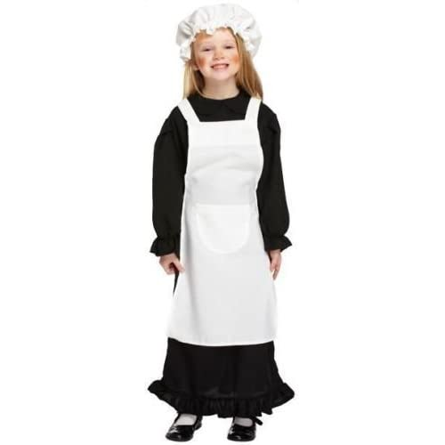 VICTORIAN GIRL FANCY DRESS POOR MAID BOOK DAY MOP CAP CHILDRENS CHILD COSTUME