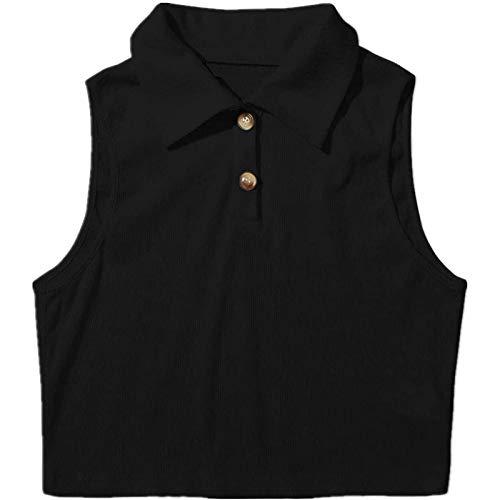 Camiseta de verano para mujer, con cierre de botones, corte corto, cuello descubierto, sin mangas, informal, cómoda, suelta, básica, camisa, blusa, túnica Negro S