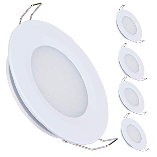 acegoo Juego de 4 lámparas LED empotrables de techo de 12 V, 3 W, 3200 K, para caravana, barco, caravana, coche, aluminio, 240 lúmenes, blanco cálido (blanco)