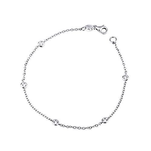 Gioielli di Valenza - Bracciale in oro bianco 18k cm 18 con diamanti ct 0,15 - NBRA2643BB-03-18