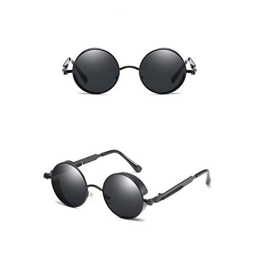 wkwk Gafas de Sol,Nuevas Gafas de Sol con Montura Redonda,Patillas de Metal con Tendencia de Primavera,Gafas de Sol Punk Retro,Gafas de Sol Unisex,Negro (1 Pieza)