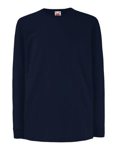 Fruit of the Loom - Camiseta de manga larga para niños, azul marino, talla 5-6 años