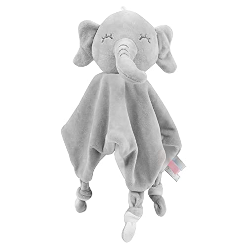 Vicloon Schmusetuch, Kuscheltuch mit Knisterfolie und Glöckchen, Weich & Waschbar, 27 x 26 cm, Baby Kuscheltier, Schmusetuch für Babys ab dem 1 - Elefant