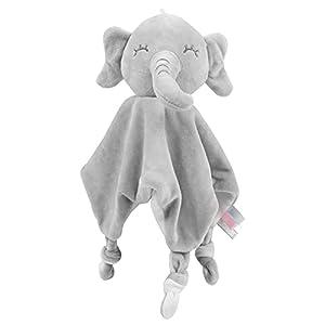 Vicloon Manta de Seguridad para Bebés,Mantita de apego bebé de Muñeca Elefante,21x16cm Toalla para bebés Toalla de Saliva,Regalo Bebe