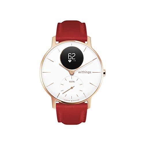 Withings Steel HR Hybrid Smartwatch - Reloj de fitness con frecuencia cardíaca y medición de actividad, 36 mm - Blanco - Edición limitada Cristal de zafiro correa de cuero rojo