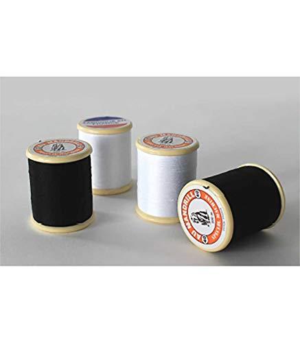4 bobines de fil : 2 blanches & 2 noires