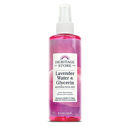 Heritage Store Lavender Water & Glycerin Soothing Facial Mist   Calms Skin & Mood   Refreshes & Hydrates   Vegan   8oz