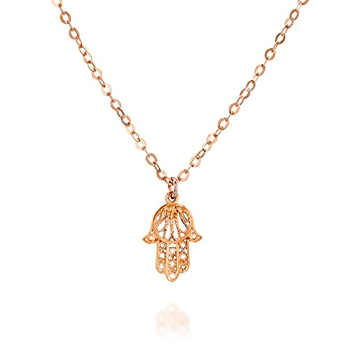 Filigree Rose Gold Hamsa Necklace - Designer Handmade Protection Necklace - 15 inch + 2 inch extending chain