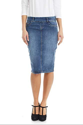 ESTEEZ Women's Jean Pencil Skirt- Stretch Jean Knee Length Brooklyn Denim 0