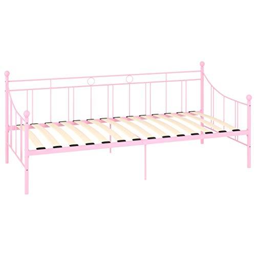 Cikonielf - Marco de cama de metal, estructura de cama, asiento de cama, cama de descanso, 208 x 95 x 83 cm, color rosa (colchón no incluido)