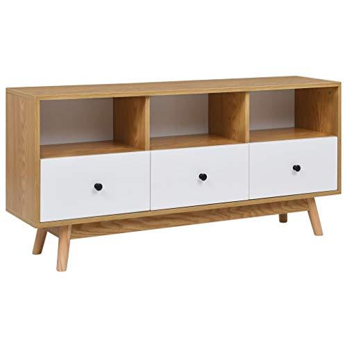 vidaXL TV Schrank Board Tisch Möbel Lowboard Fernsehtisch Fernsehschrank Sideboard Fernseher Schrank Kommode Fernsehmöbel Weiß 120x30x58cm MDF