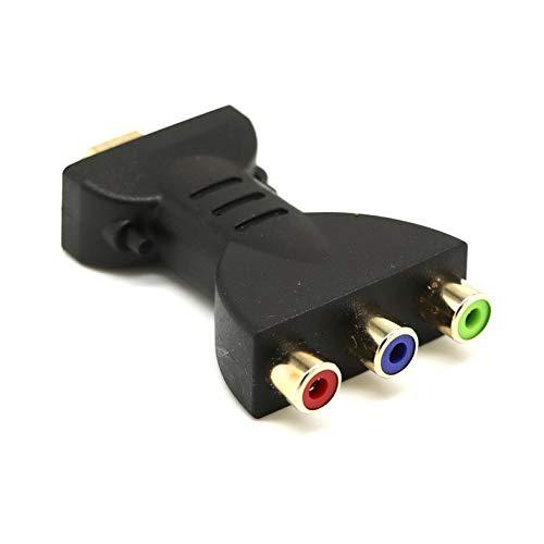 HDMI a 3 RGB RCA Adaptador de Audio y Video AV Component Converter soporta 1080P Adaptador de Audio y Video para DVD PSP - Negro