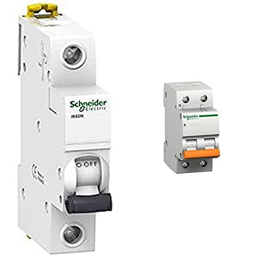 Schneider Electric A9K17106 Ik60N Interruptor Automatico Magneto Termico, 1P, 6A, Curva C, 78.5Mm X 18Mm X 85Mm, Blanco + 12509 Domae 6Ka,1P+N,16A