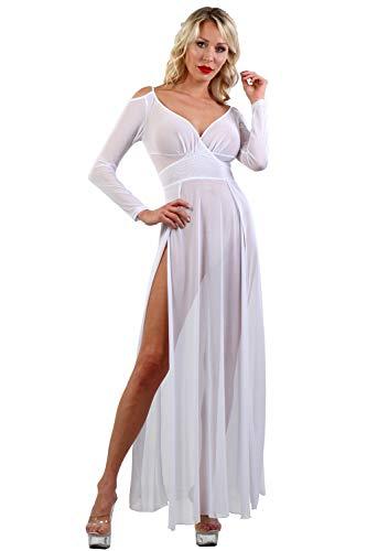 Miss Noir Damen Langärmelige Kleid Sexy Dessous aus feinem Netz, seitlich geschlitzt und offene Schultern Clubwear Partykleid (Weiß, L-XL)