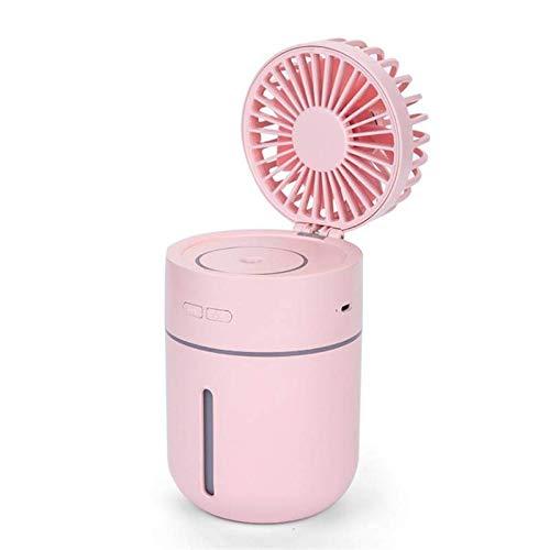 ZJYSM T9 Tragbare Kreative Spray Luftbefeuchter Lüfter LED Sauberer Fan 3 in 1 Handheld USB Minirock Fans Sommer Klimaanlage Kühler Büro Desktop-Fans (Color : Pink)