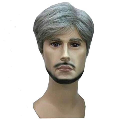 KOLIGHT Hot Fashion Short Curly Gray Gloomy Flaxen Men Wigs Natural Looking Synthetic Hair Wig