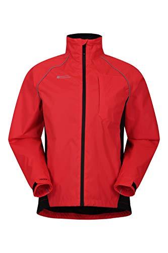Mountain Warehouse Adrenaline Wasserfeste Fahrradjacke für Herren - Reflektierender Herrenmantel, atmungsaktiver Unisex-Regenmantel - Für Laufen und Gehen Rot XL