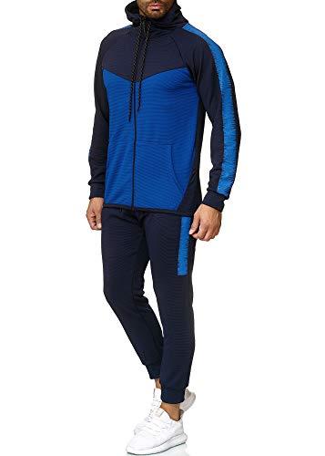 OneRedox Herren Jogginganzug Sportanzug Trainingsanzug Sweatshirt Hose Jogging Anzug Modell 1053 Blau M