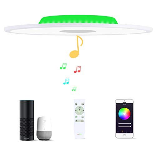 36W Φ50cm Plafón Led Compatible Con Amazon Alexa Google Assistant WIFI Lampara Techo Led Musica Con Bluetooth Altavoz y Mando y Regulable Cambia De Color Para Dormitorio Cocina Cuarto De Baño