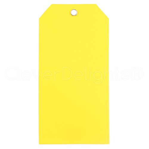 """100 Pack - CleverDelights Yellow Plastic Tags - 4.75"""" x 2.375"""" - Tear-Proof and Waterproof - Inventory Asset Identification Price Tags"""