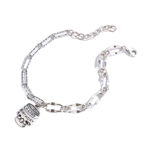 Pulsera de plata de ley 925 con etiqueta de feliz cumpleaños vintage y bonito regalo para mujer