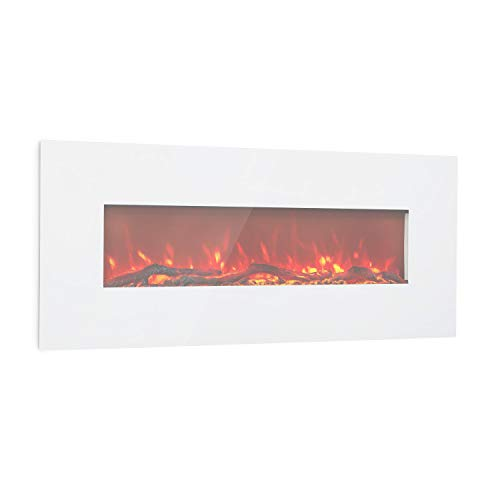Klarstein Lausanne Long Electric Fireplace - 1600 Watts, 2 Heat Settings, Width: 128 cm, Flame Effect, Tempered Glass Viewing Window, Adjustable Brightness, Remote Control, Wall Mounting