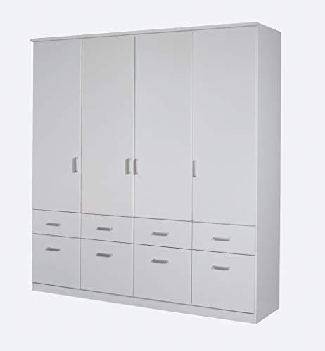 Rauch Möbel Bremen Schrank Drehtürenschrank Kleiderschrank in Weiß mit 8 Schubladen 4-türig, inklusive Zubehörpaket Basic 1 Kleiderstange, 4 Einlegeböden BxHxT 181x199x58 cm