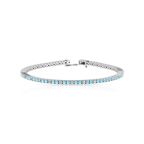 Minimalist Aquamarine Diamond Tennis Bracelet, IJ-SI Color Clarity Diamond Bridal Wedding Bracelet, Gemstone 14k Gold Bracelet 7 Inch, 14K White Gold