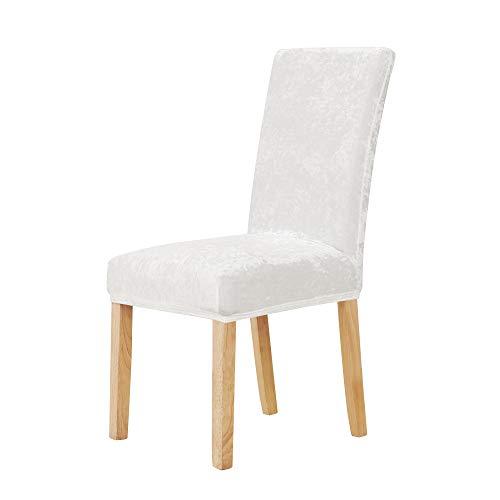 Deconovo Samt Stuhlbezug Esszimmer Stuhlbezüge weiche Stuhlhussen Stuhlhülle 46x46x60 cm Weiß 4 stück