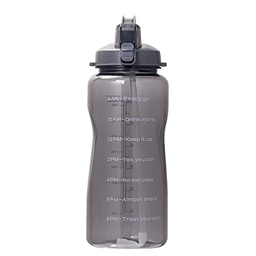 QAZW Botella de Agua de 64 Oz con Marcador de Tiempo Motivacional/Pajita - Botella de Agua con Tapa Abatible Reutilizable Sin BPA a Prueba de Fugas para Entusiastas de Los Deportes,Black-2L