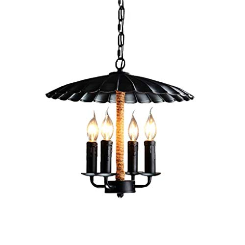 IAIZI Vintage Chandelier Loft Industrial Antique Candle Light with Hemp Rope 4-Lghts E14 Dining Table Bar Lighting