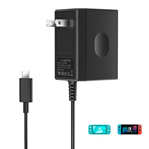 Switch Charger for Nintendo Switch and Switch Lite - Fast Charging 15V/2.6A Portable Type C Wall Charger AC Adapter Replacement Accessories with 5 FT Cable - Support TV Mode and Pro Controller