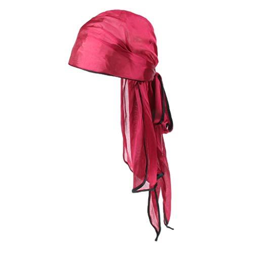 MagiDeal Sombrero de Chemo de Satén Elástico Pañuelo Sedoso de Quimio Caída de Pelo Cola Larga Unisex