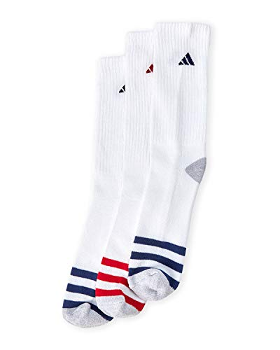 Adidas Men's Athletic Moisture Wicking Cushioned Extra Durable Crew Socks 3-Pack/ 3-Pair (Shoe Size 6-12)