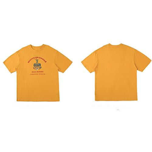 DMUEZW Vrolijk Ga Ronde carrousel Print T-shirt met korte mouwen Harajuku Casual Mannen Tees Tshirts Mode Hip Hop Streetwear Tops