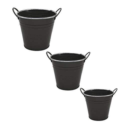Homyl Seau Pot de Fleurs Vase en Métal à Suspendre Jardin Maison S/M/L - Gris foncé