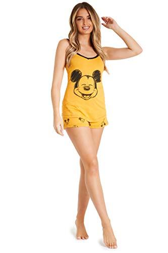 Disney Lounge Wear - Set de pijama para mujer, 100% algodón, Mickey Mouse y Minnie Mouse Amarillo Mostaza XL