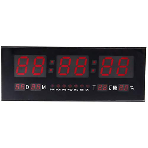 Reloj de pared digital de gran tamaño, con cifras grandes, LED, a pilas, temporizador, despertador, temperatura y calendario, de ZJchao