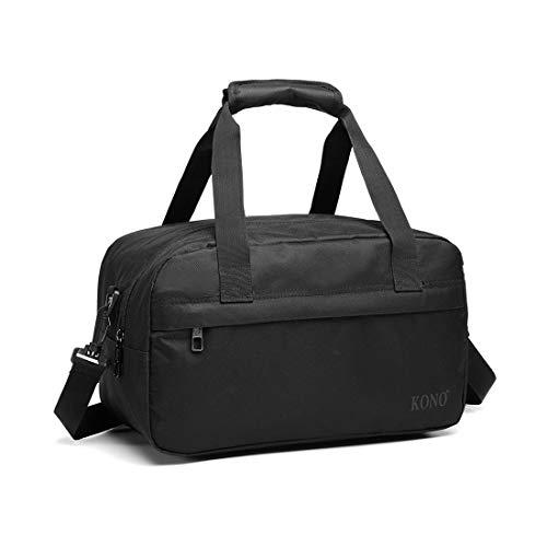 Kono Holdall Cabina Equipaje Bolsa de viaje debajo del asiento Bolsa de vuelo con correa para el hombro Bolsa de equipaje de mano Unisex (Negro)