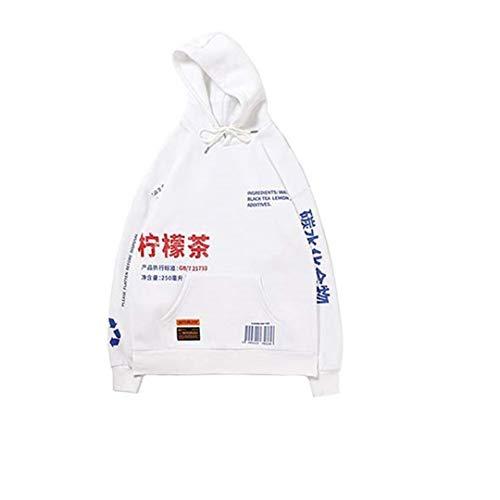 Hombres Streetwear Lemon Tea Print Deisgn Sudadera con Capucha Hip Hop Winter Fleece Hoodie A248022a White M