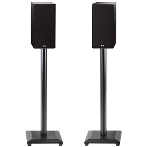 ECHOGEAR Universal Floor Speaker Stands - Vibration-Absorbing MDF Design Works with Klipsch, Polk, JBL & Other Bookshelf Speakers Or Studio Monitors - Includes Sound Iso Pads & Carpet Spikes
