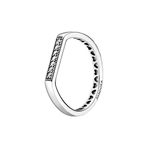 Pandora Anillo brillante de plata de ley en plata, talla 48