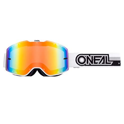 O'NEAL   Fahrrad- & Motocross-Brille   MX MTB DH FR Downhill Freeride   Verstellbares Band, optimaler Komfort, perfekte Belüftung   B-20 Goggle   Unisex   Weiß Schwarz verspiegelt   One Size