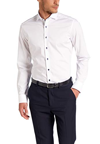 ETERNA Langarm Hemd SLIM FIT Stretch unifarben- Gr. 39, Weiß