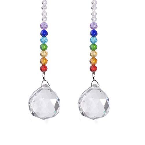 Boji Colgante atrapasoles, guirnalda de perlas para boda, colgante, refracción de luz, arco iris, multicolor, colgante con cuentas octogonales, hecho a mano, colgante para ventana