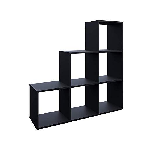 Vicco Treppenregal 6 Fächer Raumteiler Stufenregal Bücherregal Raumtrenner Aktenregal Standregal (schwarz) (Schwarz)