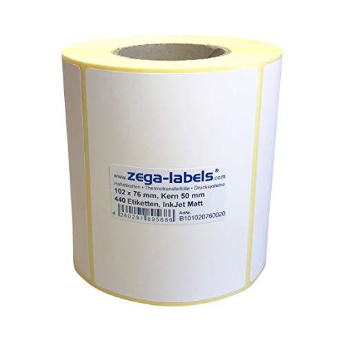 Inkjet Etiketten auf Rolle - 102 x 76 mm - 440 Stück je Rolle - Kern: 50 mm - Papier weiss matt - aussen gewickelt - permanent haftend - Druckverfahren: Ink Jet (Rollen Tintenstrahl Drucker)